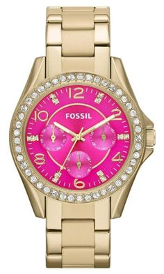 7b2f9b57793 Fossil  Riley  Round Crystal Bezel Bracelet Watch