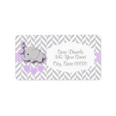 Lavender, White Gray Elephant Baby Shower Label