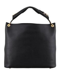 Nina Black Calfskin Hobo Bag