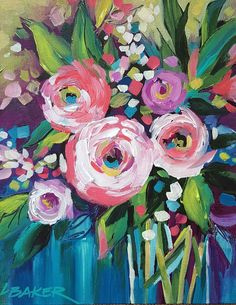 """Small Original Impressionist Painting Acrylic on Canvas """"Coral Bouquet"""" Abstract Art Painting, Impressionist Paintings Acrylic, Flower Art, Floral Art, Impressionist Paintings, Acrylic Painting Flowers, Art, Abstract Flower Painting, Watercolor Paintings Easy"""