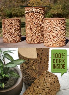 This wine cork patio set lets you enjoy the ambiance of wine well drunk and recycling at its finest. This attractive set features 4,700 corks from bottles representing $110,000 in wine consumed in the U.S.