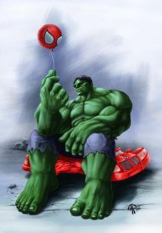 #Hulk #Fan #Art. (Hulk with Spidey Ballon) By: Romerquindara. (THE * 5 * STÅR * ÅWARD * OF: * AW YEAH, IT'S MAJOR ÅWESOMENESS!!!™)[THANK U 4 PINNING<·><]<©>ÅÅÅ+