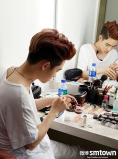 EXO Kyungsoo (D.O.) ~ I think he has more cosmetics than I do! lol