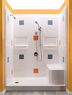 best bath modular shower system with composite fibreglass walls built in seat and easy to