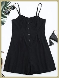 Half Buttoned Lined Romper (Black)