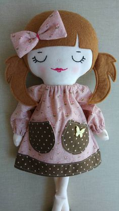 Sophie rag doll cloth doll fabric doll hand made doll Fabric Doll Pattern, Fabric Dolls, Rag Dolls, Doll Clothes Patterns, Doll Patterns, Apple Dolls, Mary Janes, Homemade Dolls, Sewing Dolls