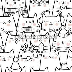 Download - Christmas cats seamless pattern — Stock Illustration #60793047
