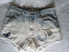 Upcycled Boyfriend Bleached Frayed Large XL High Waist by LandofBridget, $10.00