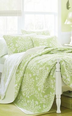 The Laura Ashley Rowland Reversible Quilt Set helps breathe new life into any design, providing a subtle accent to your bedroom decor. Decor, Furniture, Beautiful Bedrooms, Home, Home Bedroom, Bedroom Green, Bed, Bedroom Decor, Beautiful Bedding