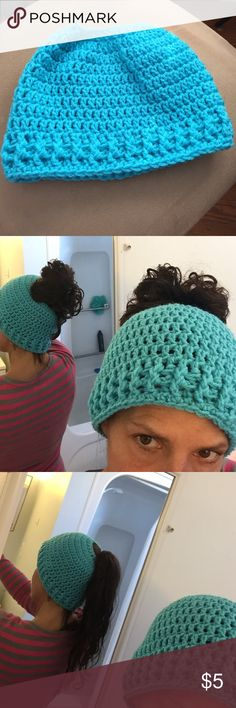 Messy bun/ ponytail knit hat☃☃ Worn only for the picture.. they are all the rage here in Rhode Island I figured out how to make them myself Accessories Hats