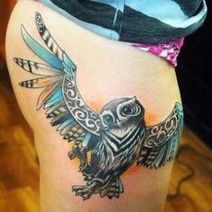 tribal owl tattoo Tattoo Idea, Thigh Tattoos, Design Concepts, Animal Tattoos, Color, Tattoo Artists, Tattoo Ink, Owls, Owl Tattoos