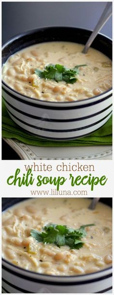Delicious White Chicken Chili Recipe - one of the heartiest soup recipes ever! We love having this for dinner. (Quick Chicken Chili)