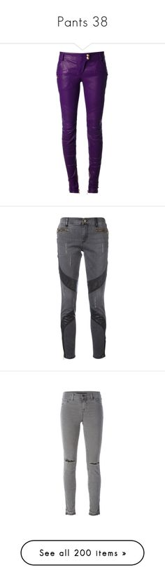 """""""Pants 38"""" by katiemarilexa ❤ liked on Polyvore featuring pants, bottoms, leather pants, balmain, leather zipper pants, leather zip pants, purple leather pants, zip pants, leather skinny pants and jeans"""