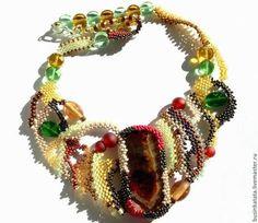 """Колье из бисера """"Восточные пряности"""". - стиль бохо,подарок девушке,подарок женщине #freeform #beadwork"""