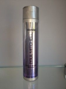 PAUL MITCHELL PLATINUM BLONDE SHAMPOO $13.00     Ideal for platinum blonde, highlighted, gray or white hair.  Color-enhancing formula brings out the best in blonde and silver hair by  softening strands, adding moisture and banishing unwanted brassiness.