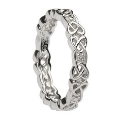 Women's Silver Celtic Knot Wedding Band with Diamonds - Unique Celtic Wedding Band Celtic Wedding Rings, Diamond Wedding Rings, Diamond Rings, Gold Wedding, Celtic Knot Ring, Celtic Rings, Celtic Knots, Diamond Jewelry, Wedding Bands
