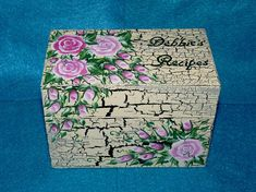 Distressed Hand Painted Recipe Card Box Decorative by HillsideBees, $64.50