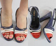 1940s Shoes Frank More Size 5  /  40s Vintage Sandals Platform Slingbacks /  Race the Moon Sandals