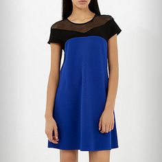 RIVER ISLAND: Women This blue and black textured crepe swing dress will make a sophisticated addition to your occasion wardrobe. Its fluid smock shape is accentuated with black mesh detail to the yoke. River Island Shop, Black Mesh, Swing Dress, Smocking, Short Sleeve Dresses, How To Make, March, Blue, Shape