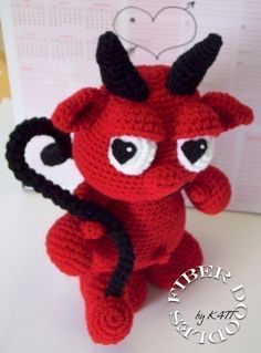 Crochet Pattern - Lu The Amigurumi Valentine Devil From Fiberdoodhlebyk4tt On Etsy. Valentines Days Ideas #Valentines, #pinsland, https://apps.facebook.com/yangutu