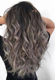 32 Ideas Hair Color Ash Grey Brown Colour Balayage Hair Grey, Brown Blonde Hair, Brunette Hair, Wavy Hair, Dyed Hair, Grey Blonde, Ashy Brown Hair Balayage, Honey Balayage, Brunette Color