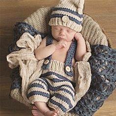 0-4 M Bebé Recién Nacido accesorios de Fotografía Infantil de Punto de Ganchillo Traje Azul A Rayas Trajes Suave Botón Elf Beanie + pantalones