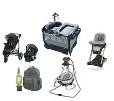 Shop Graco Dark Blue Complete Baby Gear Bundle,Stroller Travel System with Swing Large Diaper Bags, Baby Diaper Bags, Portable High Chairs, Unique Baby Shower Gifts, Unique Gifts, Baby Bassinet, Baby Swings, Travel System, Baby Gear