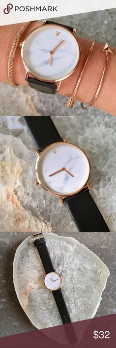 Minimalist Marble Rose Gold Watch Beautiful brand new marble face rose Gold watch with black leather band  ▪️brand new with tags▪️new tested working battery▪️stainless steel casing ▪️quartz movement ▪️ water resistant ▪️beveled Quartz glass watch face ▪️38 mm diameter face ▪️adjustable band  BEST Quality  Brand new with tags Discounts on bundles  Photos are my own              Estrella & Luna Boutique                    ✨ +  Estrella & Luna Accessories Watches
