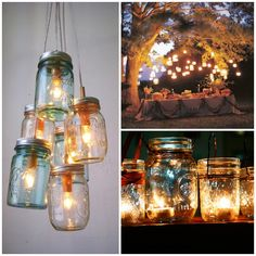 Mason jars quickly make romantic outdoor lighting when you add soy candles! Green Bride Guide