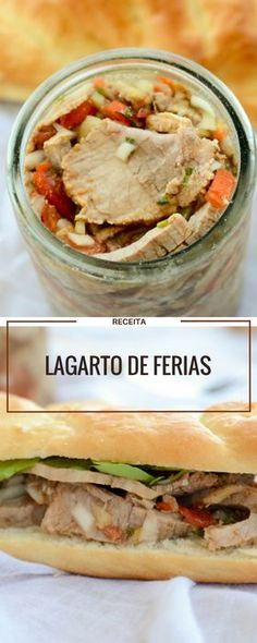Receita de Lagarto de férias para sanduiche Bbq Meat, Pasta, Food Truck, Finger Foods, Sandwiches, Food Porn, Brunch, Food And Drink, Pork