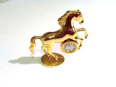 Xanadu Gold-tone Rearing Horse Clock  on Etsy, $30.00