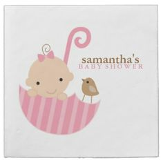 Baby in Pink Umbrella Baby Shower Napkin. These paper napkins that you can customize come in sets of 50 with great discount for multiple sets.