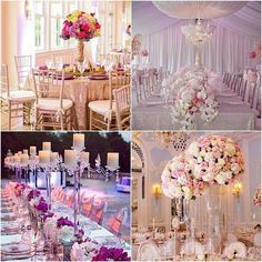 Different styles of spectacular wedding decoration with magnificence flowers center arrangements.