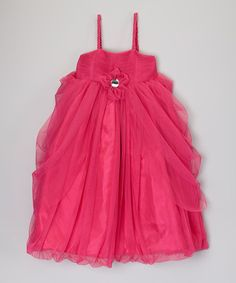 Loving this Fuchsia Flower Tulle Babydoll Dress - Toddler & Girls on #zulily #ad *so cute