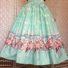 Flamingo full gathered border print, vintage style skirt