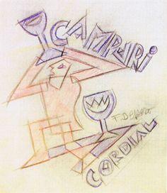 Campari Cordial - Depero, matite colorate su carta