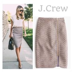Host PickJ.Crew Tweed Pencil Skirt Gorgeous J.Crew zip front Plum Sparkle Metallic Pencil Skirt w/adjustable zipper.  With a touch of sparkle this skirt is perfect for the holiday season.  Fully lined. J. Crew Skirts Pencil