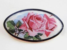 Antique sterling and Guilloche enameled roses brooch, Norway