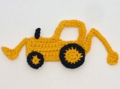 Crochet applique 1 small crochet digger by MyfanwysAppliques, £2.50