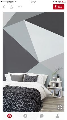 Ready to bring some Scandi cool into your home? This geometric wallpaper design encompasses sleek lines with a bold palette of greys. Bringing together sophistication and simplicity. It's the perfect choice for monochrome bedrooms and living room spaces. Monochrome Bedroom, Monochrome Color, Bedroom Paint Colors, Wall Colors, Trendy Bedroom, Bohemian Bedrooms, Dream Rooms, New Room, Bedroom Decor