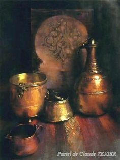 Copper Work by Claude Texier - pastel Still Life Drawing, Still Life Oil Painting, Still Life Art, Soft Pastel Art, Pastel Drawing, Paintings I Love, Painting Inspiration, Fine Art, Artwork