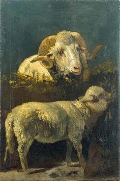 MatrizNet 1871, Tomás da Anunciação,Cabeça de um carneiro e um borrego (estudo)