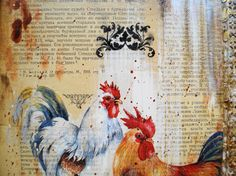 Mixed Media Collage Acril Painting Brave Rooster. Original Art Work. The picture not framed in a frame.  I thought that we often do not have enough courage. And I would like to have children to be bolder. Sincerity so requires boldness. Just let them remain prudent and vigilant! :-)Thus was born this work. Mixed Media Collage,acrilic painting.Collage and painting canvas on cardboard is combined with several layers of textures and it creates the volume effect. Work decoration Potala. Work…