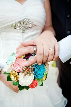 felt flower brooch bouquet (by handmade colectibles, photo by tricia williams photography)