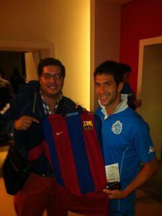 Con Luis garcía en Morelia. Un jersey muy valioso! Del Barça!!!! Yo soy madridista, pero ¿Quién se resiste a una joya como esta?