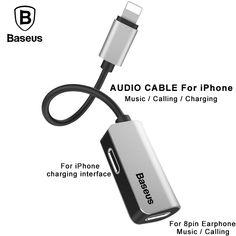 7b5deb0f4fb [US $9.89] Baseus 3 in 1 Audio Plus 8Pin Earphone Charging Splitter Adapter  For