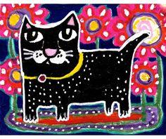 Black Cat Cat Art Funny Cat Print Whimsical by AGirlAnOwlAndACat, $10.00