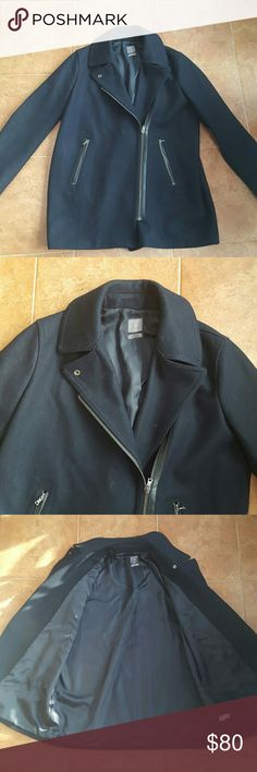 GOOD CONDITION Gap Peacoat MAKE ME AN OFFER OR BUNDLE!!   ❄GAP size XL  ❄ Navy with black faux leather zipper trim  ❄ Full working zipper on the front  ❄ Can be zipped all the way and snapped or zipped shown in photo 1 ❄ Very thick  ❄ I store it hanging up in the closet with bag over to protect from little fuzzies! ❄ No damage or stains   FABRIC TAG READS: Shell- 69% Wool, 13% Polyester, 7% Rayon, 6% Cotton, 5% Other fibers.  Lining- 100% Polyester GAP Jackets & Coats Pea Coats