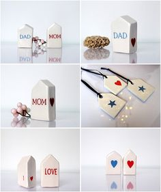 For MOM and DAD #Mom #Dad #Mother'sdaygift #Father'sdaygift #etsy #miniatureceramic #littleclayhouse #vitezart