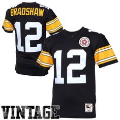 Mitchell & Ness Terry Bradshaw Pittsburgh Steelers Authentic Throwback Jersey – Black